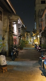 Night view of Shen Nong Street with ambient lighting.
