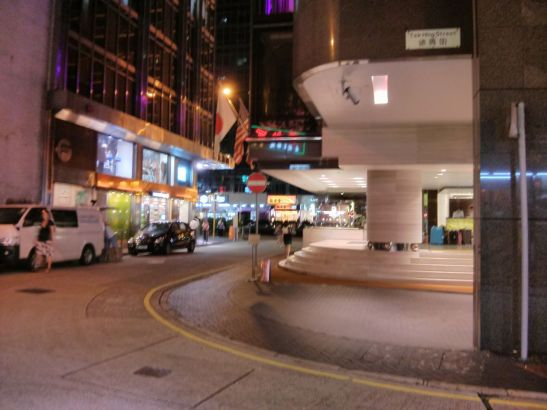 This photo is taken from the restaurant looking out onto Tak Shing Street and Nathan Road beyond.